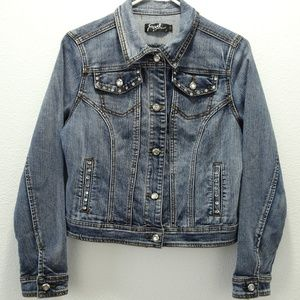 Earl Jean Jacket Blue Bling Jewel Pockets Medium